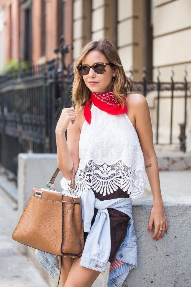 NYFW - Look #2   Ideias fashion, Como usar bandana, Bandana