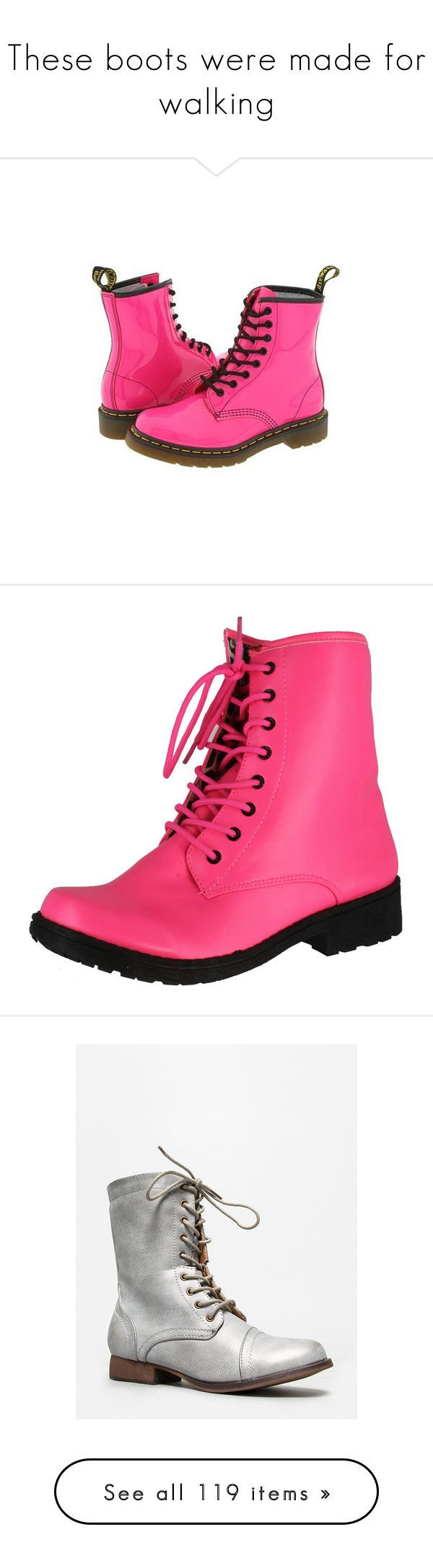 """""""These boots were made for walking"""" by asmnova ❤ liked on Polyvore featuring shoes, boots, ankle booties, pink, military boots, wide ankle boots, wedge boots, wedge ankle boots, pink flats and silver"""
