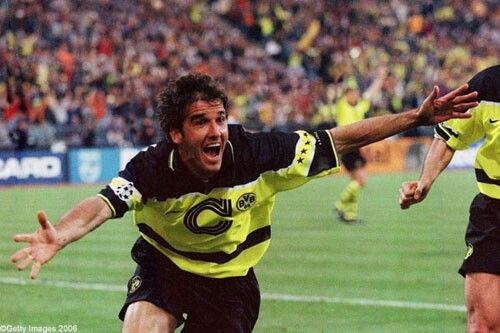 Karl heinz-reidle scores vs juventus champions league final 1997 Olympic stadium Munich