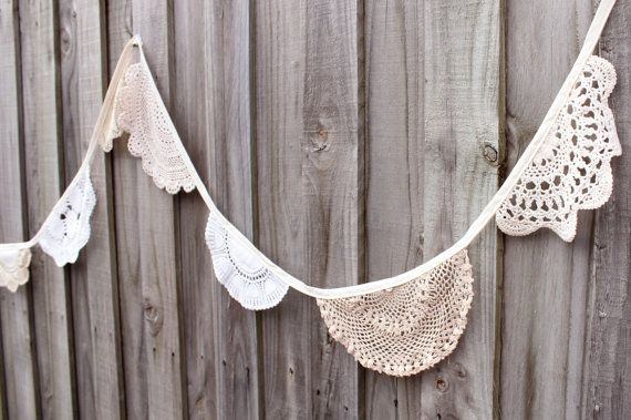 Crochet doily bunting  4 metres by adayofpaleskies on Etsy
