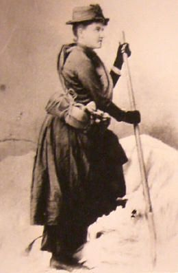 Fay Fuller in climbing garb ~ first woman to summit Mt. Rainier, in 1890