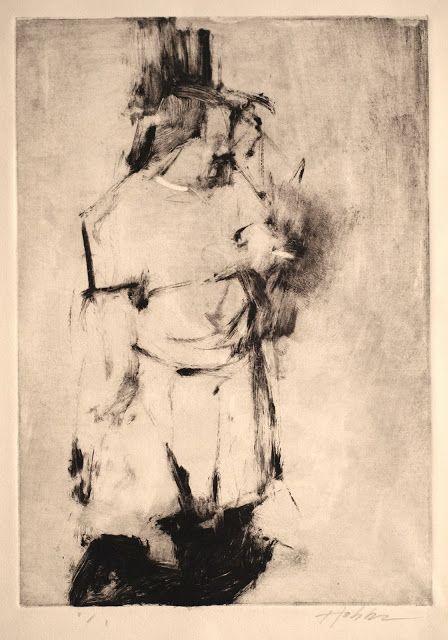 "Frank Hobbs, ""Smoking Woman"" monotype, 12 x 9 in."