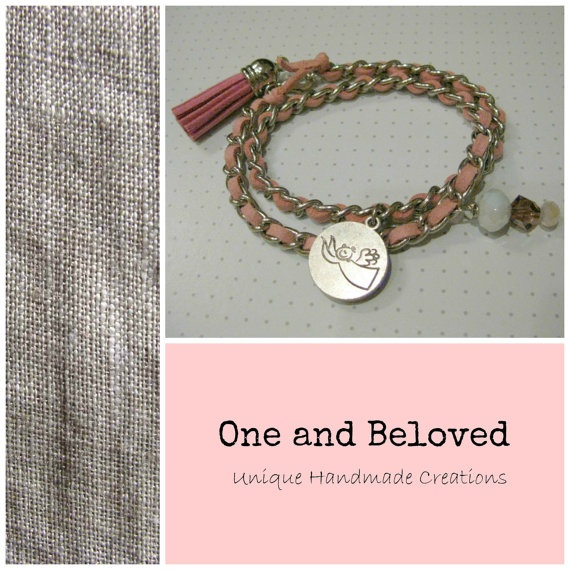 Unique Handmade Pink suede in chain Bracelet with by OneandBeloved, €8.00