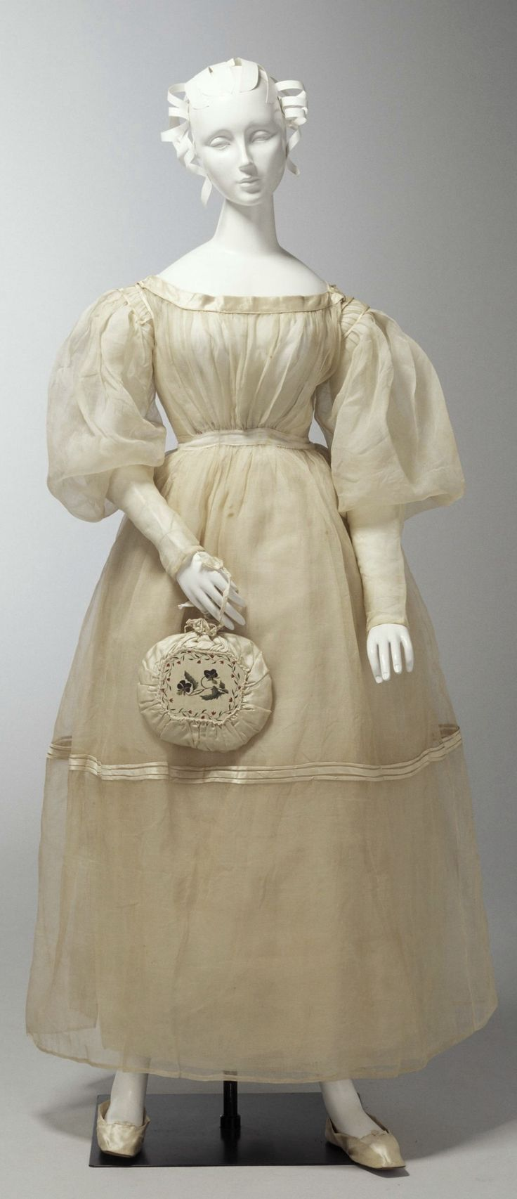 Wedding dress, shoes, and embroidered drawstring bag, Australian/English, 1833. Worn by Agnes Thompson for her wedding to Dr George Busby, government medical officer at the Convict Hospital at Bathurst, on 11 January 1833.