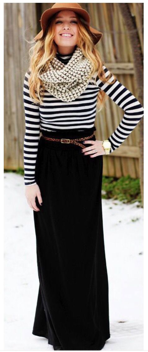 Maxi skirts for fall and winter--- add a long sleeve and a chunky knit scarf