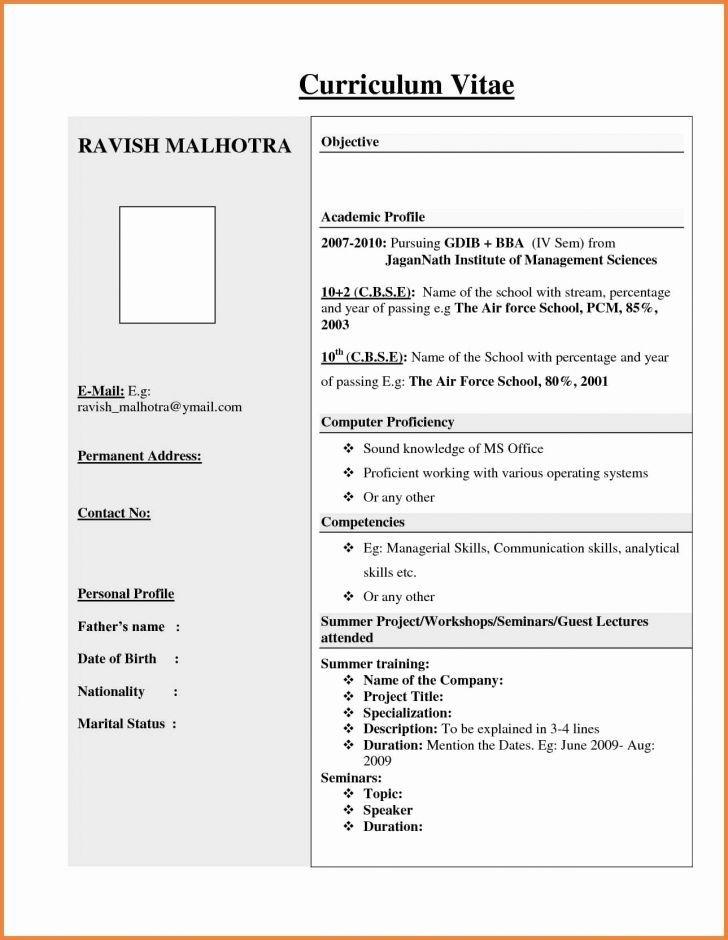 Format Resume Kerja Kerajaan Resume Format For Freshers