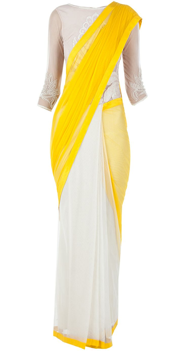 Yellow and ivory sari gown available only at Pernia's Pop-Up Shop.