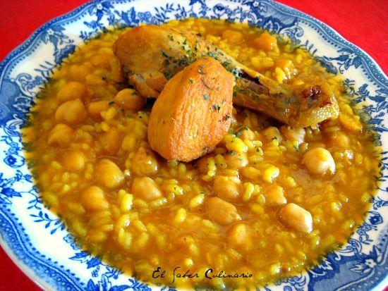 Potaje de garbanzos con arroz y pollo. Receta fácil y rápida http://blgs.co/G0kbAz