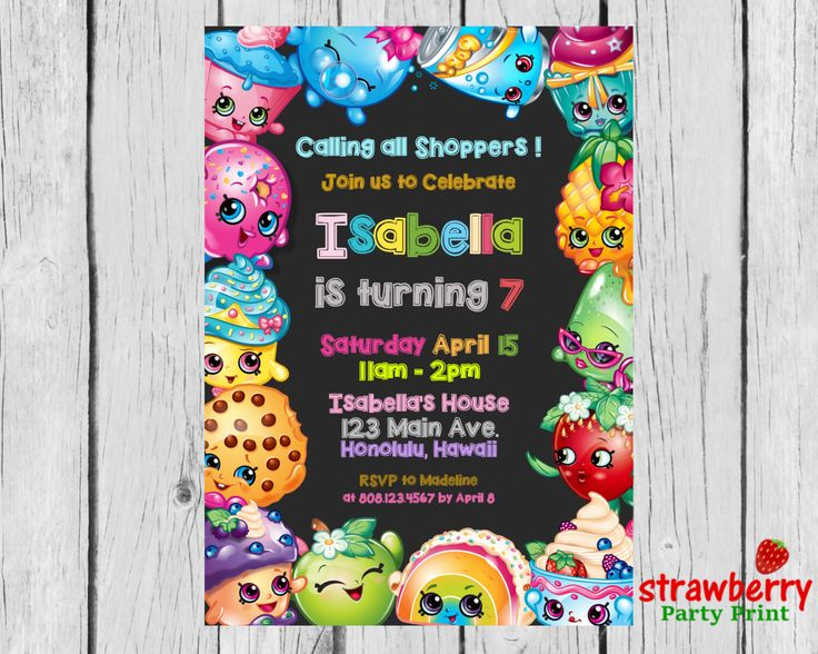 A personal favorite from my Etsy shop https://www.etsy.com/listing/398109865/shopkins-birthday-shopkins-invitation