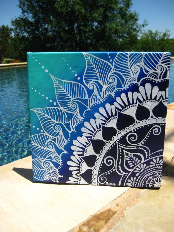 exceptional Cool Designs To Paint On Canvas Part - 1: Hand painted henna design on a 12x12 canvas with acrylic paint | Art u0026  zentangles | Pinterest | Art, Painting and Canvas.