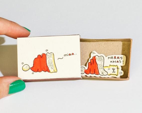 Funny Cat Christmas Card Humor Christmas Card Funny Cat Holiday Card Kitty New Year Card Matchbox Small Gift Box Cat In The Hat Cm024 In 2020 Christmas Greetings Funny Funny Cat