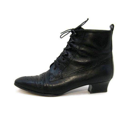 Vintage 80s Granny Boots Lace Up Chunky