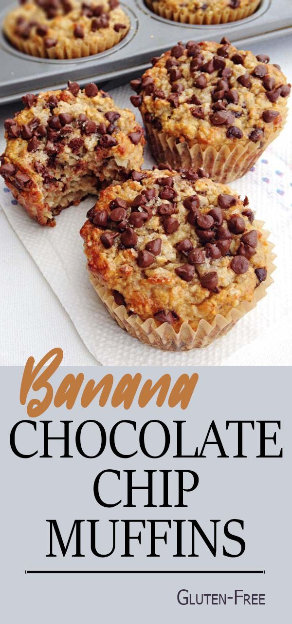 Gluten-Free Banana Chocolate Chip Muffins. These muffins have a soft and scrumptious texture and the combination of chocolate with banana just simple, delicious and just divine!