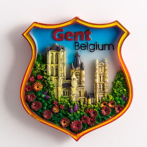 Resin Fridge Magnet: Belgium. Gent Panoramic View