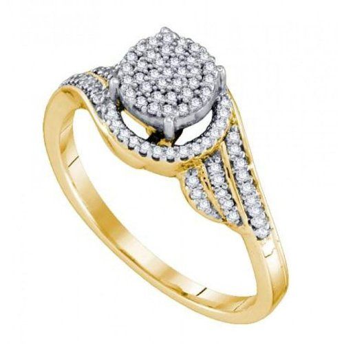 Women's White Diamond 0.25CTW 10K Yellow Gold Fashion GND64462-W8.5 | Sparkly Things Jewelry