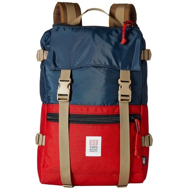 Topo Designs Rover Pack (Navy/Red) Backpack Bags ($139) ❤ liked on Polyvore featuring bags, backpacks, plastic bag, heavy duty backpacks, red backpack, plastic zip bags and zipper bag