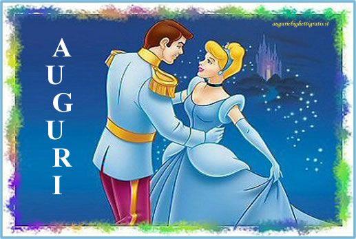 biglietto di auguri di buon compleanno con cenerentola che balla con il principe azzurro