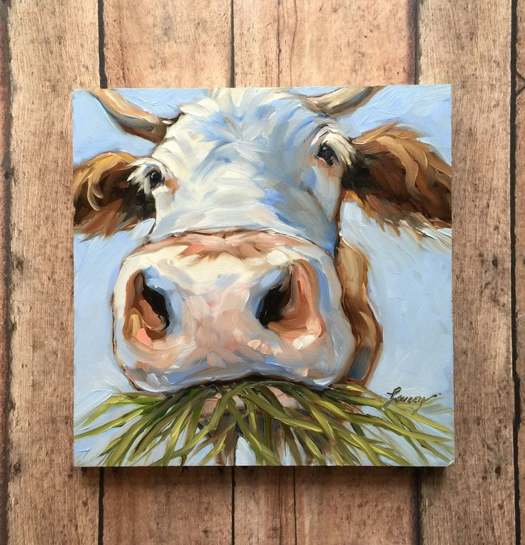 Cow Painting, 6x6 inch original impressionistic oil painting of a sweet Cow, paintings of cows, Jersey cows, cow art by LaveryART on Etsy