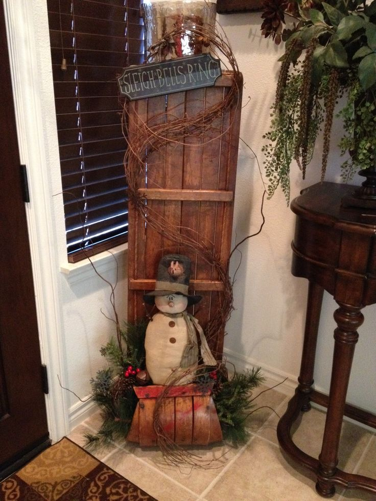 Primitive Christmas Antique Toboggan with Honey and Me Snowman- aw good ole toboggans sure do have great memories growing up on these :)