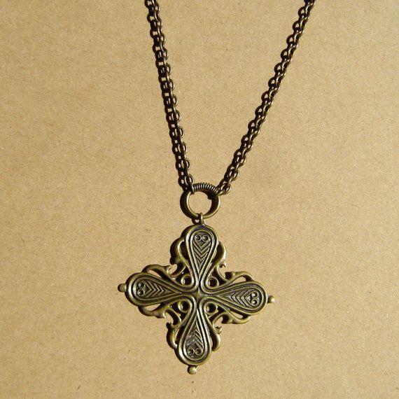 Vintage Modernist Kalevala Koru Bronze Cross by GraciousGood