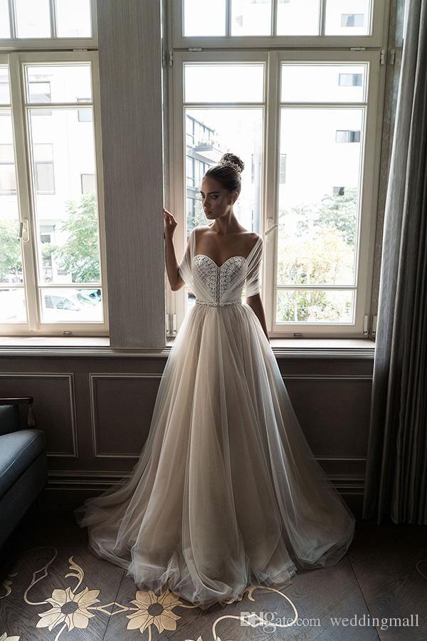 Discount Elihav Sasson Crystal Beach Arabic Wedding Dresses Sweetheart Pearls A Line Tulle Bridal Dresses Sexy Wedding Gowns Wedding Gowns With Sleeves Weddingdress From Weddingmall, $130.66| DHgate.Com