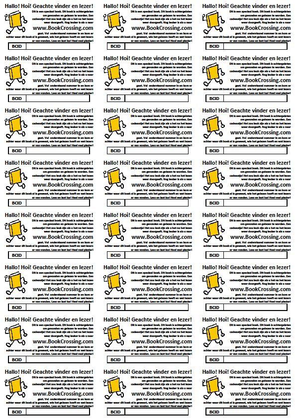 ACTION etiketten: Labels voor in de kaft van het boek. Hierin staat de info die de ontvanger duidelijk maakt wat er moet gebeuren. Ook kan hier het boeknummer in geschreven worden. Deze labels zijn te gebruiken voor Action etiketten