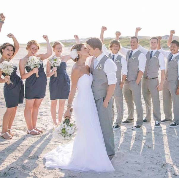 Gray linen suit wedding