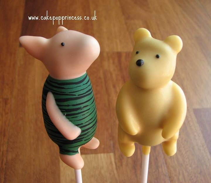 Classic Pooh cake pops. I could never do this but they are so cute