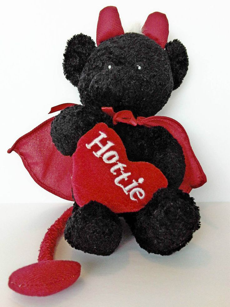 Stuffed Plush Black Teddy Bear Devil Hottie Heart Horns Tail Cape Valentine gift | eBay