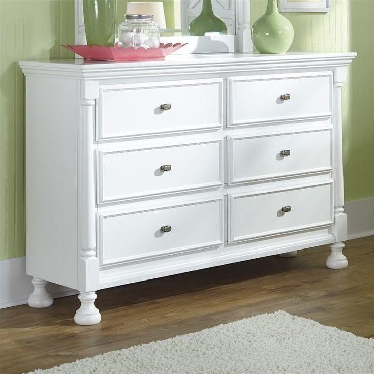 Lowest price online on all Ashley Kaslyn 6 Drawer Wood Double Dresser in White - B502-21