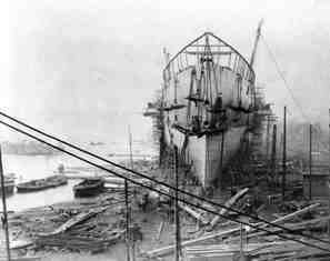 I K Brunel's Great Eastern was finally launched from Millwall on the River Thames, London on 21 January 1858 after several earlier unsucessful attempts. At the time, the Great Eastern was the largest ship ever built and the first to have a double hull for safety. This is one of a series of photographs showing the Great Eastern under construction held by ICE Archive.