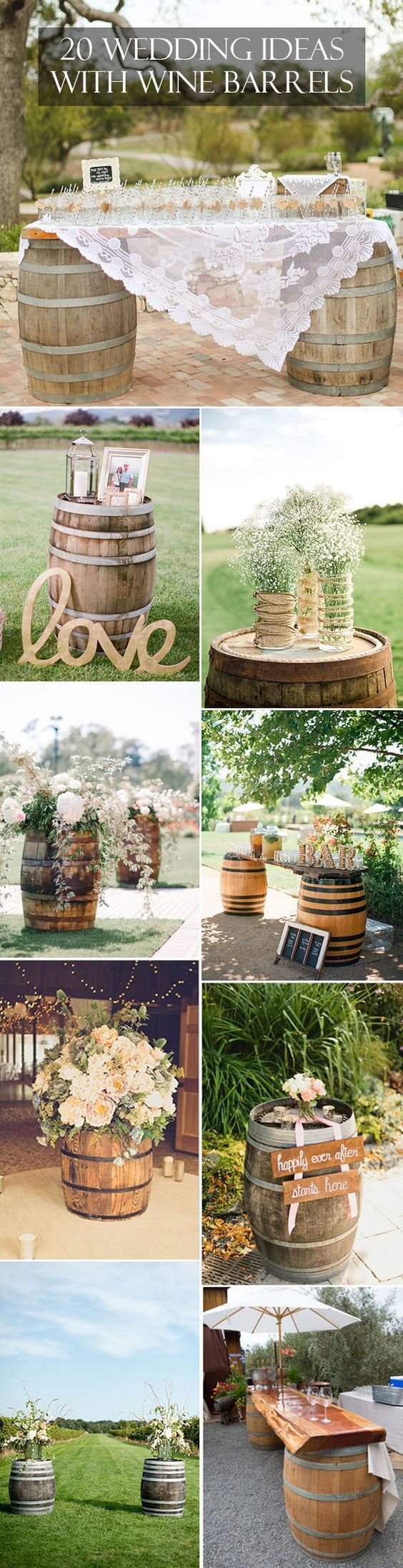 For couples who are not into formal, modern affairs, country rustic wedding theme will be a great choice, which offers an opportunity to inject the newlywed's personality into the country themed ceremony and reception, and they can also be expressed by the decoration elements. So today we're talking about one of the hottest decoration elements-wine barrels, perfect for a winery country wedding.