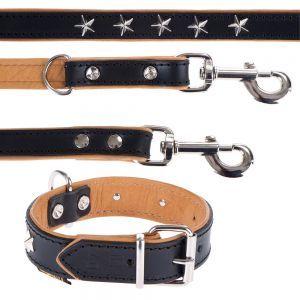 Leer halsband & lijn in set goedkoop bij zooplus: Heim Set: showlijn Stars + leren halsband Stars