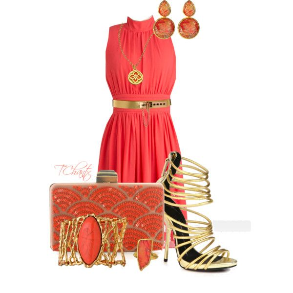 """Coral with a clutch"" by tchantx on Polyvore"