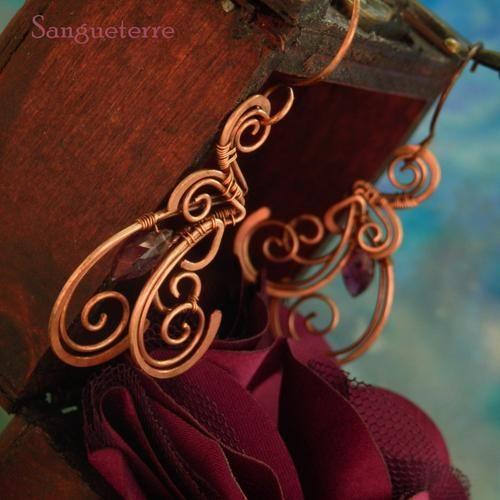 Fucse * enigmatic earrings * wirewrapping * wirewrapped * jewelry * copper * romantic * fantasy * fairy * elf * fairytale * magic * art nouveau * handmade