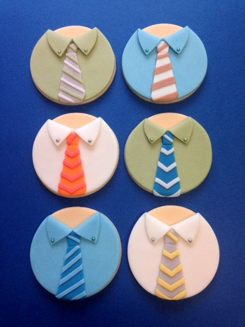 This listing is for 12 fondant shirt & tie toppers. You will get 2 each of the styles shown. All my items are hand made of 100% edible products.