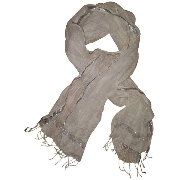 Pre-owned Linen scarf with silver stripes ($105) ❤ liked on Polyvore featuring accessories, scarves, white, fringe shawl, white scarves, linen shawl, silver scarves and fringe scarves