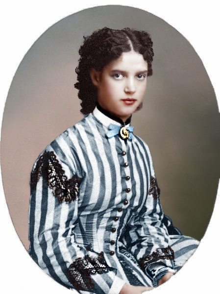 Maria Feodorovna (Dagmar of Denmark) (1847-1928, colorized & very young by unknown artist. Wife of Alexander III (1845-1894), Russia..