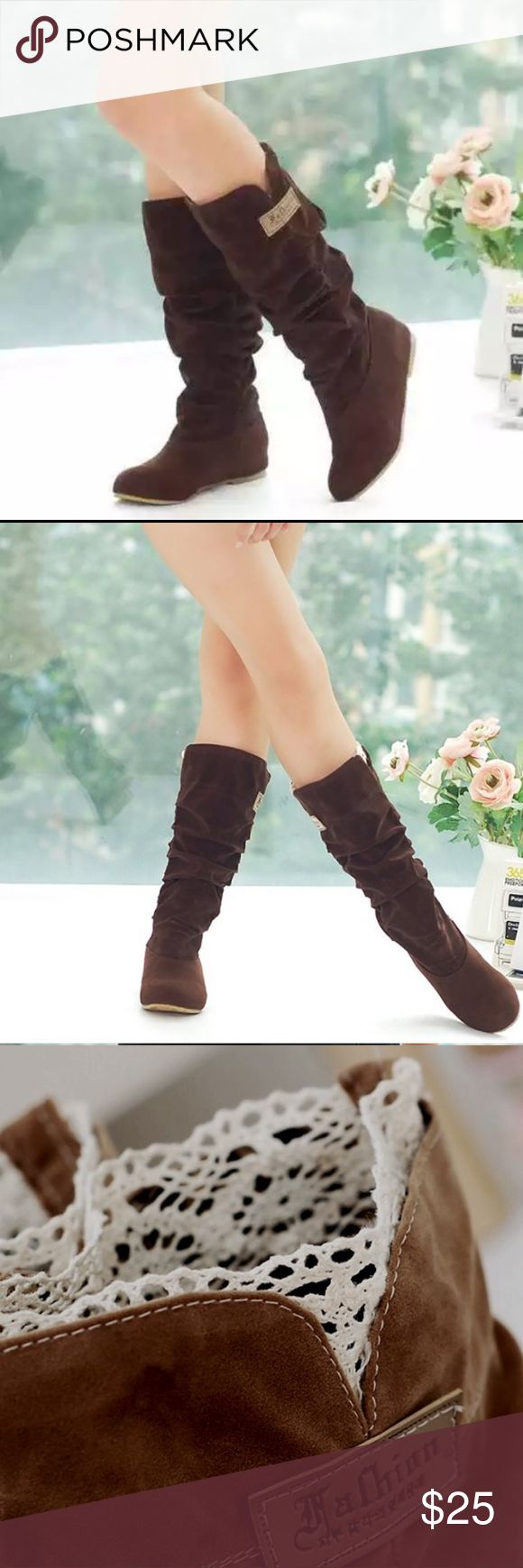 Dark Brown Faux Suede Boots Size 6 Brand new boots calf high slouch boots size 6 womens Shoes