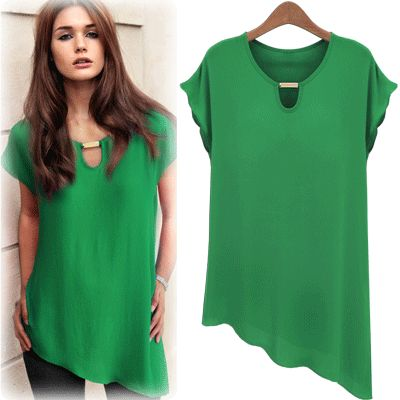 new 2014 summer women fashion plus size clothing fashion short-sleeve chiffon shirt