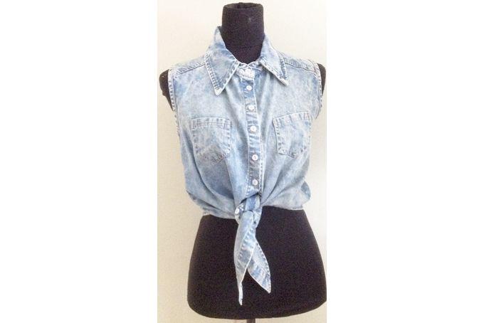 Denim tie shirt by Smooch Clothing