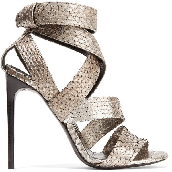 TOM FORD Metallic python sandals ($1,715) ❤ liked on Polyvore featuring shoes, sandals, heels, tom ford, metallic sandals, ankle strap high heel sandals, ankle wrap sandals, silver heel sandals and silver shoes