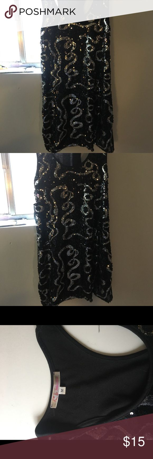 Black and Silver Sequins Dress (for going out) For going out or clubbing, above the knee, strapless Julia's Closet Dresses Midi
