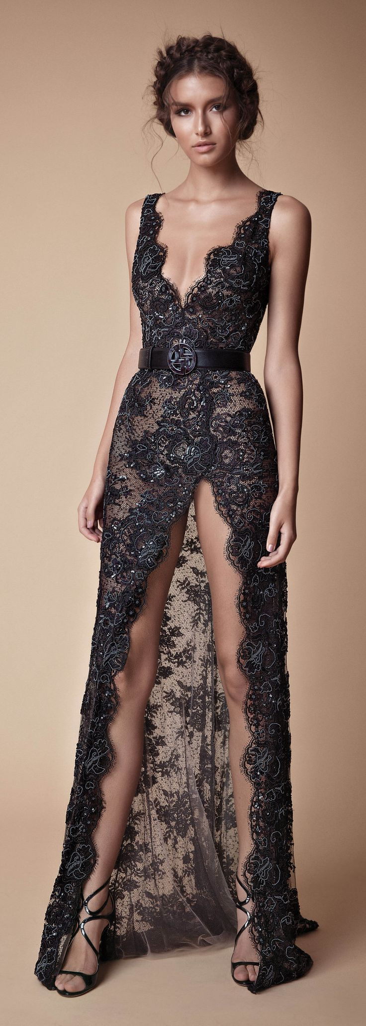 Sexy black lace evening gown by @berta