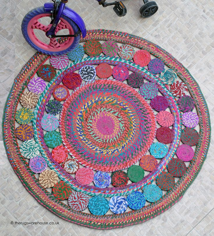 Begonia Multi Rug Is A Colourful Round Handmade From Recycled Cotton Http