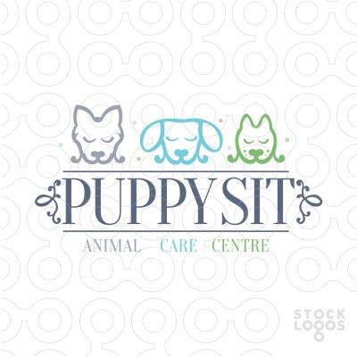 cute adorable logo of three puppies/dogs