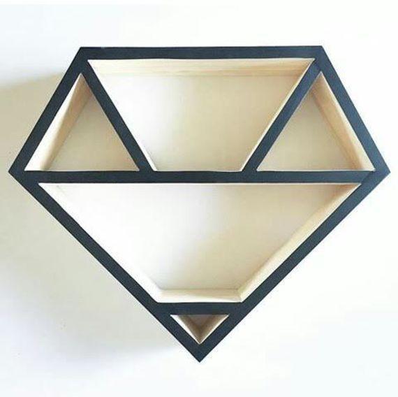 מדף עץ/ מדף מעוצב/ מדף דקורטיבי/ מדף יהלום | My Ideal Home - הבית האידיאלי | מרמלדה מרקט