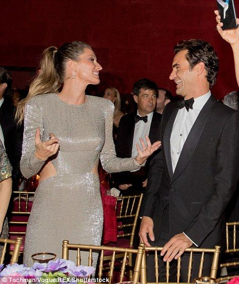 Dancing partner: Gisele attended the Gala with handsome husband Tom Brady, who was no doubt thrilled to see his wife having such a good time on the evening, however, it was tennis ace Roger Federer that she found herself partying with