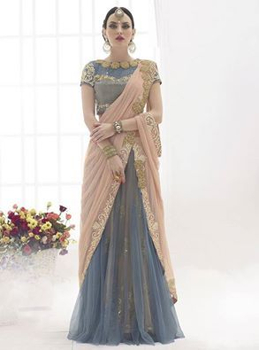 A ready to wear Aishwarya saree is a real blessing for the modern woman! Buy Aishwarya saree online - http://www.aishwaryadesignstudio.com/dull-peach-grey-color-ready-to-wear-saree