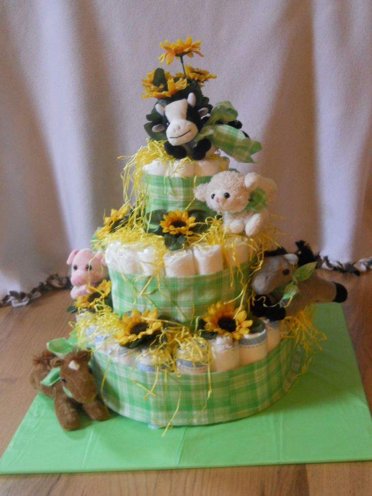 Baby Farm Animal Diaper Cake Crafts Pinterest